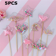 5Pcs Glitter Mermaid Unicorn Flamingo Cake Toppers Cute Heart Pearl Cupcake For Weddings Birthday Party Decorative