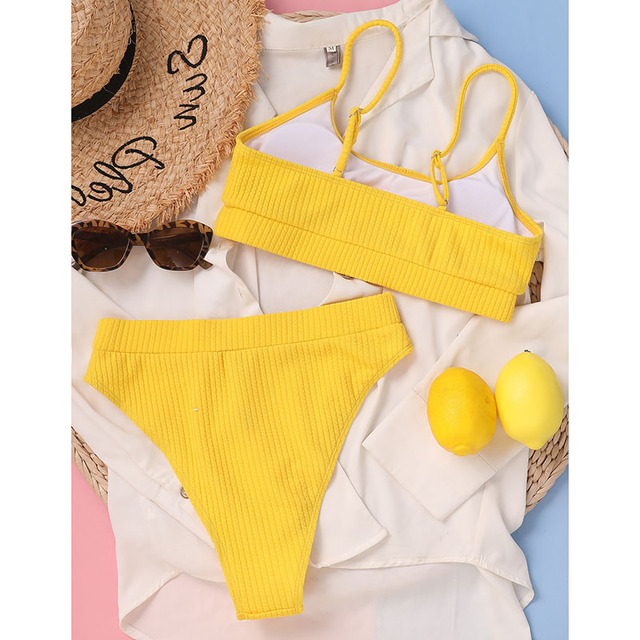 INGAGA High Waist Bikinis Swimwear Women Push Up Swimsuits Ribbed Bathing Suits High Cut Sexy Biquini 2021 Summer Beachwear 6