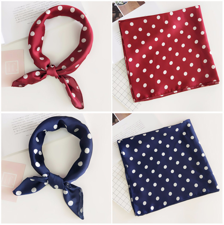 H1ac15d98a84d43a3a71a4770a8fe0eebo - Square Scarf Hair Tie Band For Business Party Women Elegant Small Vintage Skinny Retro Head Neck Silk Satin Scarf