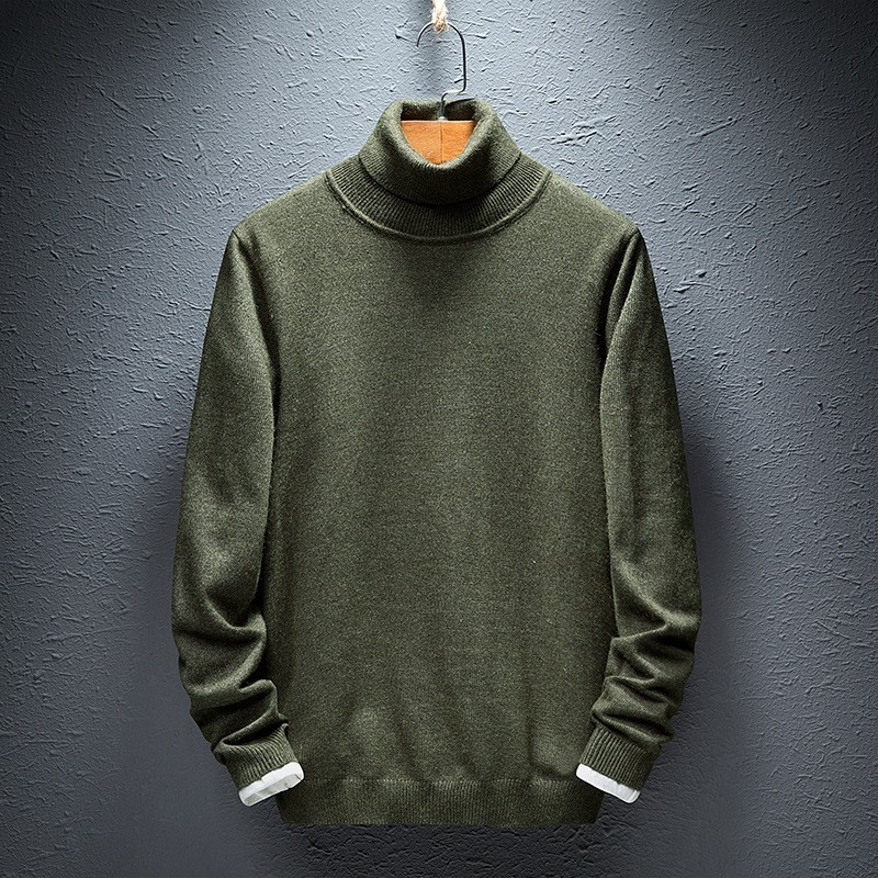 Mens Turtleneck Sweater Solid Colors Plus Size M-5XL Jumper Male Pullover Comfortable Autumn Winter Male Tops Knitted Sweaters