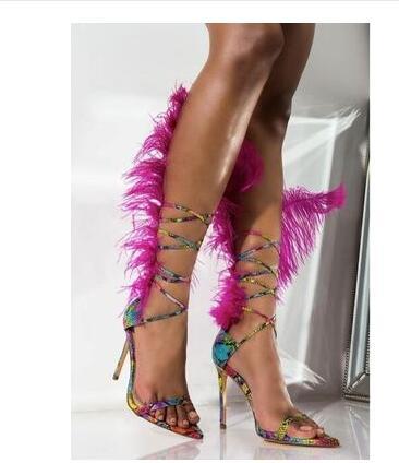 Decoração de penas Na Moda Calçados Legal Preto Do Dedo Do Pé Apontado Sandálias De Pele Lace Up Pista Cortar Gladiador Das Mulheres Sapatos de Salto Alto calçado - 3