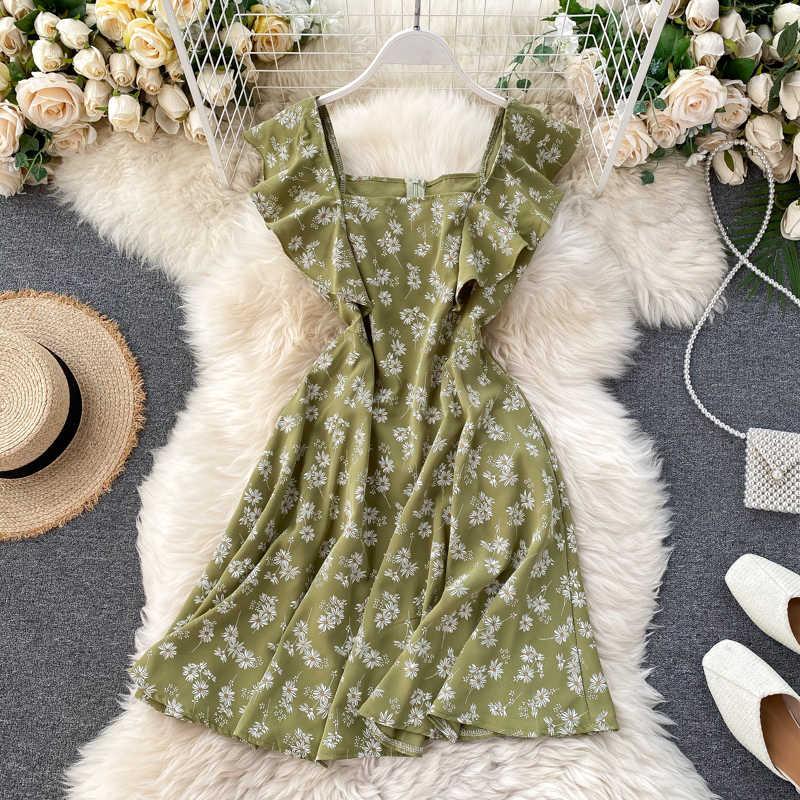 SINGRAIN 2020 Frauen Daisy Druck Chiffon Kleider Quadrat Kragen Schmetterling Ärmeln Koreanischen Strand Robe A-line Floral Vestidos