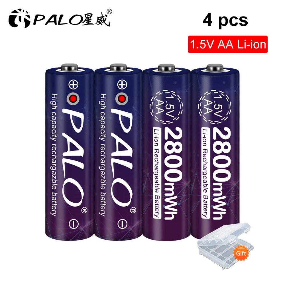 Для детей от 2 до 8 лет, шт. Li-ion 1,5 V AA Батарея 2800mWh Перезаряжаемые Батарея 1,5 V литий ионный AA 2A Батарея для часов, мыши, компьютеры, игрушки