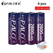Bateria recarregável do lítio aa 2a do íon 1.5 v li da bateria 2800mwh do li-íon 1.5 v aa de 2-8 pces para relógios, ratos, computadores, brinquedos