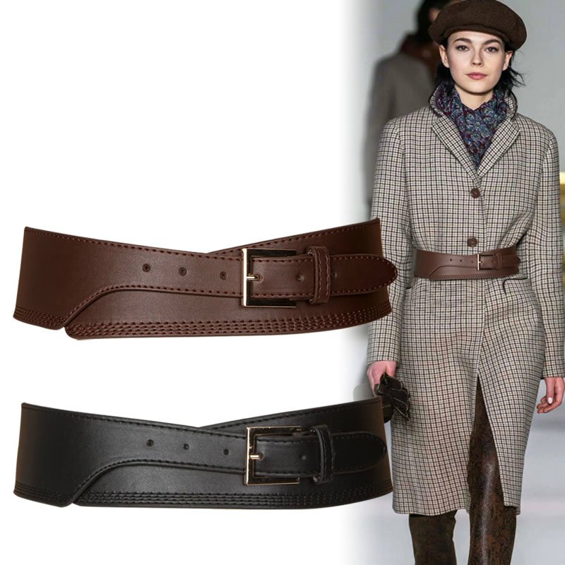 Fashion Spring Autumn Women Lady Fashion  Color Soft Pu Leather Wide Belt Self Tie Wrap Waist Mujer Dress Pants Pasek Damski