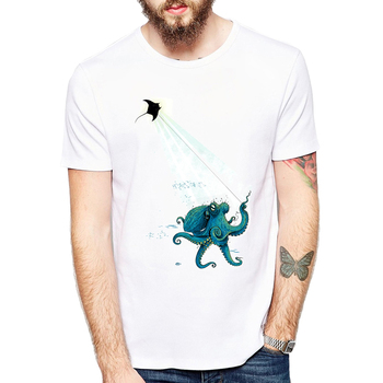 Octopus and devil rays Kite Flying T Shirts Men casual Top Cool animal design T-Shirt For Adult Tshirts Clothes cool flying