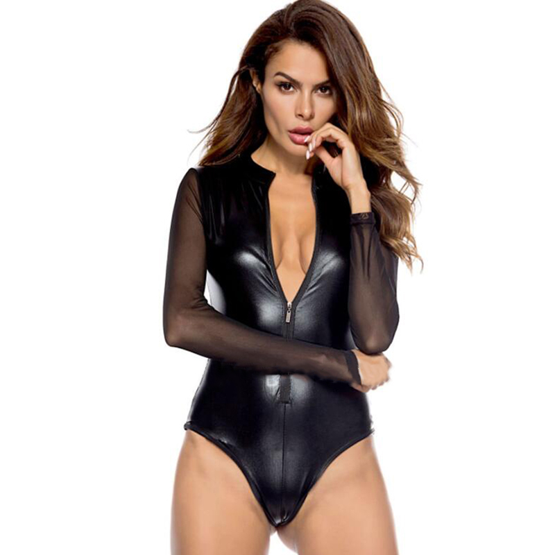 V Neck Women Bodysuits Lady Erotic Sexy Leather Baby Doll Sexy Hot Pole Dance Club Sexy Clothing For Femme