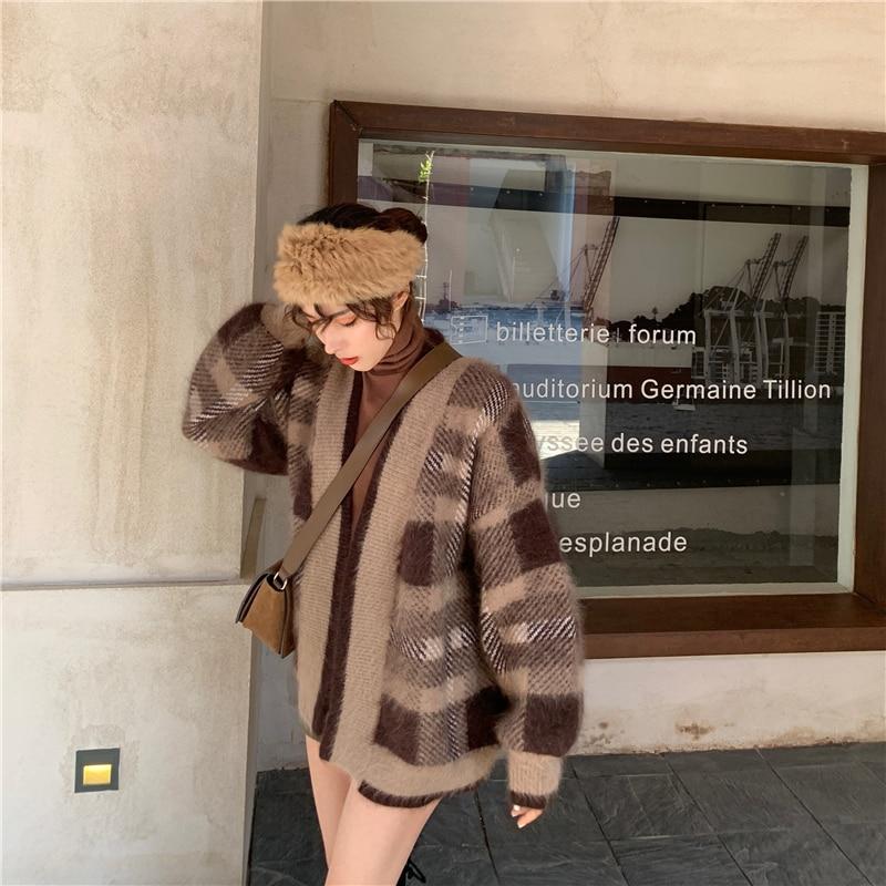 Плотный свободный свитер; Пальто; Кардиган в клетку|Кардиганы|   | АлиЭкспресс