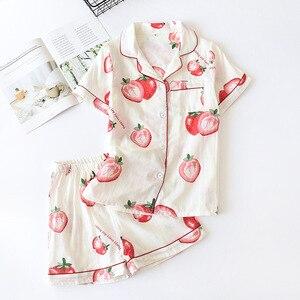 Image 4 - Calções de verão pijamas femininos conjuntos 100% gaze algodão japonês bonito dos desenhos animados simples manga curta shorts sleepwear