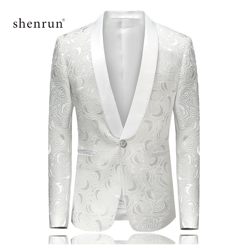 Shenrun Men Blazer Casual Slim Fit Man White Jackets Suit Jacket Wedding Shawl Lapel Tuxedo Party Prom Costume Plus Size Blazers