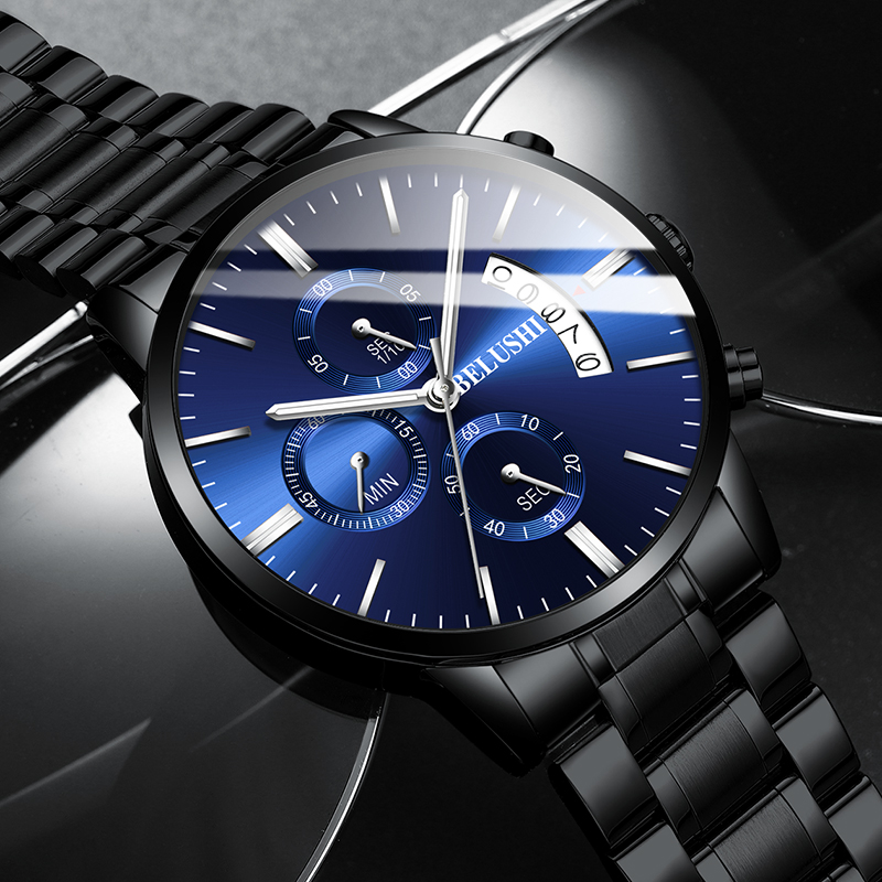 BELUSHI Steel Waterproof Men's Quartz Watch Chronograph Men Watches Fashion Top Brand Luxury Clock Sport Casual Male Wristwatch
