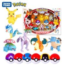 Genuine Pokemon 6 Pcs Set Box Elf Ball Deformation Toys Pocket Monster Pet Pokeball Pikachu Anime Figure Model Dolls Kids Gift