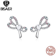 BISAER Romantic Bowknot 100% 925 Sterling Silver Dazzling Knotted Stud Earrings stud for Women Making HVE364