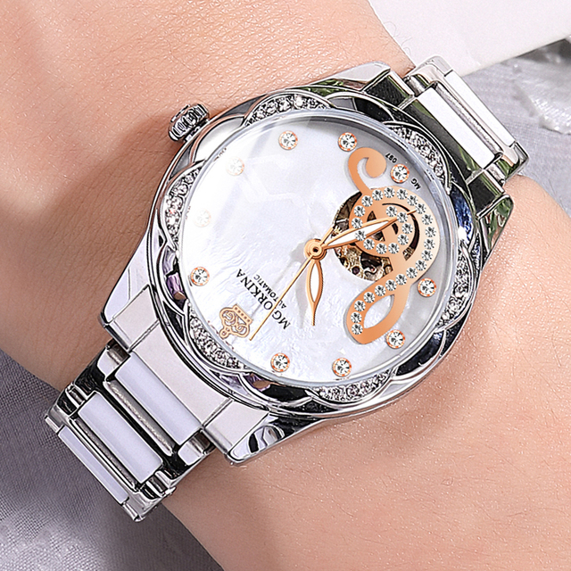 New Women's Watches 2021Diamond Luxury Design Ceramic Stainless Steel Strap Montre Femme Automatic Mechanical Relojes Para Mujer 4