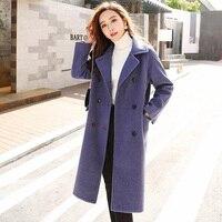 2019 New Fashion women's woolen coat female autumn Loose Double breasted long woolen coat thick Wild trend Women cc1359