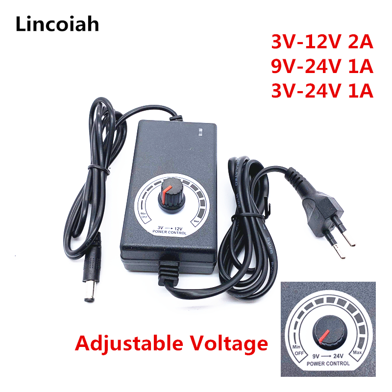 3V-12V 3V-24V 9V-24V regulowany Adapter z wyświetlaczem napięcia DC 5.5x2.1/2.5mm zasilacz ue wtyczka 3 12 24 v ładowarka