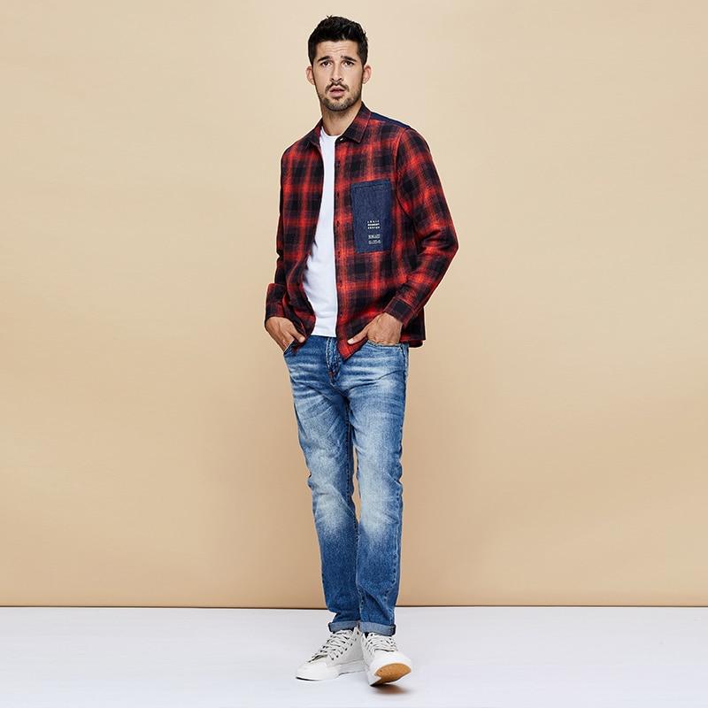 Image 3 - KUEGOU 2019 осень 100% хлопок клетчатая красная рубашка мужская  одежда на пуговицах Повседневная приталенная с длинным рукавом для  мужчин брендовая блуза размера плюс 6987Повседневные рубашки   -