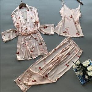 Image 3 - 3 peças de seda gelo pijamas femininos polka fruta doce colete calças cardigan conjunto pijamas