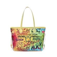 лучшая цена Large Graffiti Capacity Handbags Women Pu Leather Big Totes Bucket Bag Female Shoulder Bag Simple Ladies Luxury Brand Bag