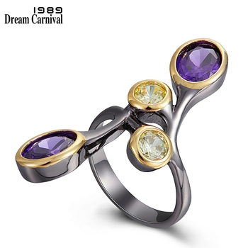 DreamCarnival1989 Creative-Ring for Women Multi-Colors Zircon Delicate Feminine Jewelry Long Ring Dating Party Must Have WA11793 1