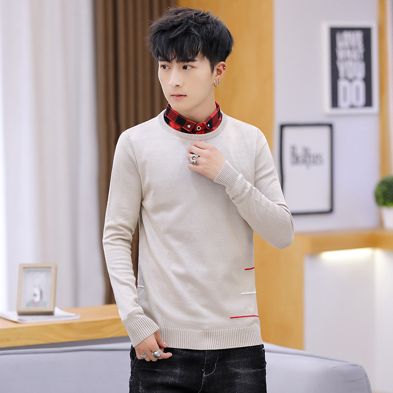 Grey Men Sweater Two Spring Autumn New Black Navy Blue Fake Casual Turn-down Collar Pullovers Sweater Men