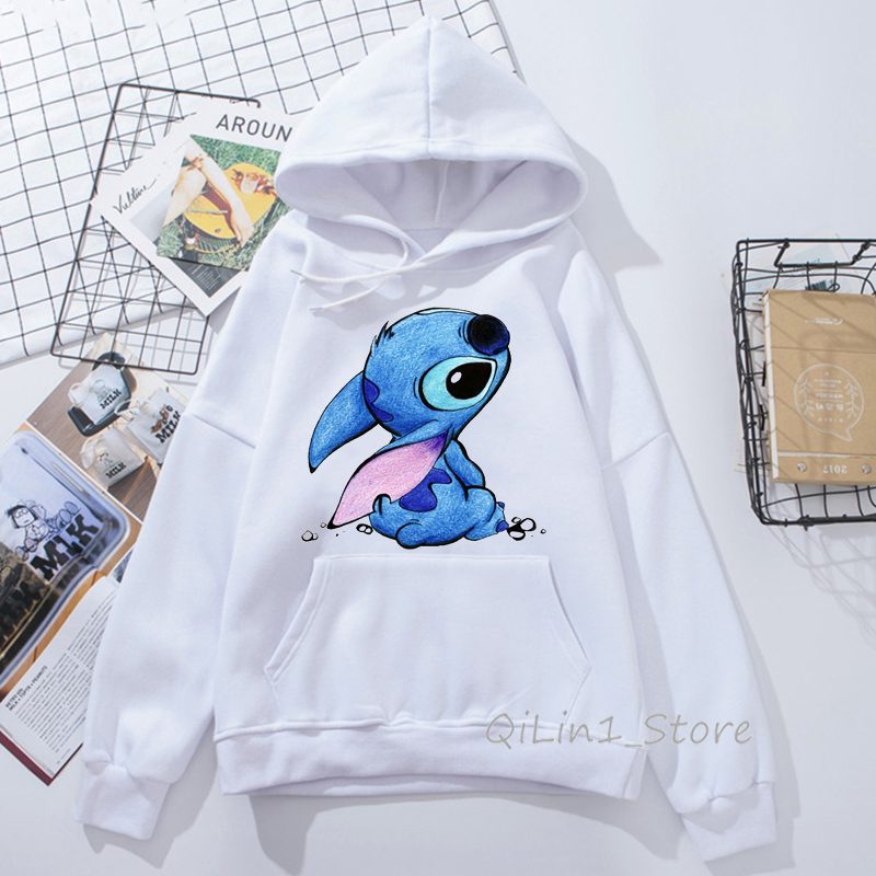 Funny Kawaii Lilo And Stitch Print Women's Sweatshirt Unisex Hat Hoodies Spring Autumn Thin Sweat Femme Clothes Hoody Oversize