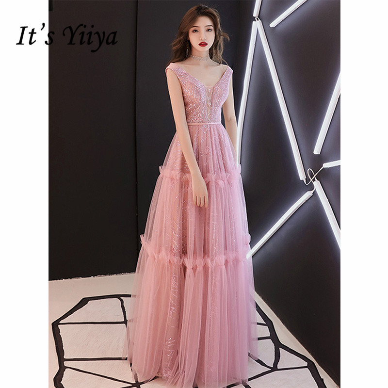 It's Yiiya   Evening     Dress   2019 Sequins Sleeveless V-Neck A-Line Floor Length   Dresses   Elegant Lace Up Formal Robe de Soiree E1072