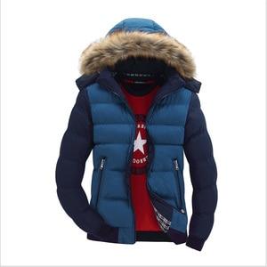 Image 3 - Winter Warm Men Jacket Fur Casual Hooded Male Thick Parka Coats Solid Patchwork Zipper New Mens Sportswear Windbreaker Outwear