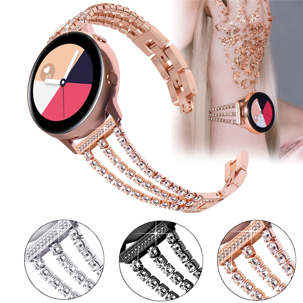 Watch Strap For Samsung Galaxy Gear S3 20mm 22mm Woman  Band Pink Bracelet Correa Stainless Steel Buckle Galaxy 46mm Huawei Gt