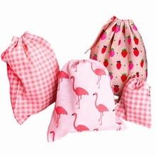 Drawstring Bag Strawberry Women Shoes Organizer Storage-Case Cloth Travel Cotton Cosmetics