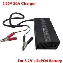 3.65V 10A 15A 20A LFP Charger For 1S 3.2V LiFePO4 50AH 100AH 200AH Battery Cell Alligator clips Crocodile clip Aluminum shell