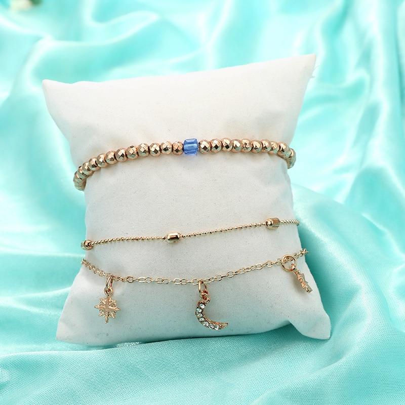 Bohemian Beaded Ankle Bracelets Set Multilayer Star Moon Pendant Charm Chain Bracelets Women Anklet Foot Jewelry Gift 2Pcs