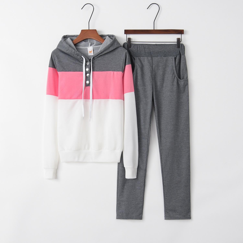 Splice 2020 New Design Fashion Hot Sale Suit Set Women Tracksuit Two-piece Style Outfit Sweatshirt Sport Wear