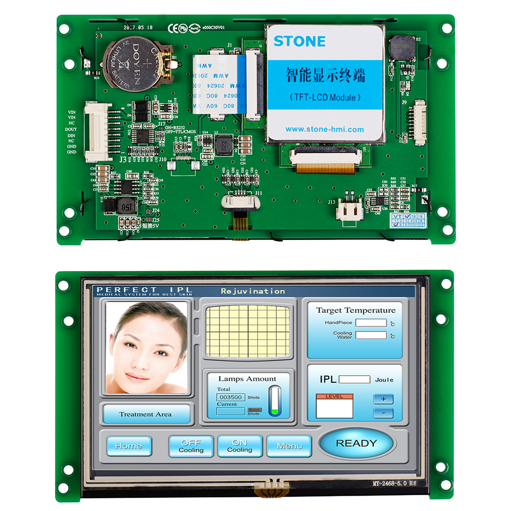 STONE 5.0 Inch Intelligent TFT LCD Touch Screen Monitor Display Screen With RS232/RS485+Program For Industrial Use