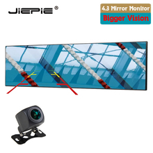 JIEPIE 4.3 Inch Rearview Mirror Monitor backup Rear Camera Kit Wide-angle White Mirror With Night Vision Parking Reverse Camera