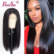 13X6 Straight Lace Front Wig Remy Brazilian Hair Lace Front Human Hair Wigs For Women Pre Plucked RUIYU Swiss Dark Light Lace(China)