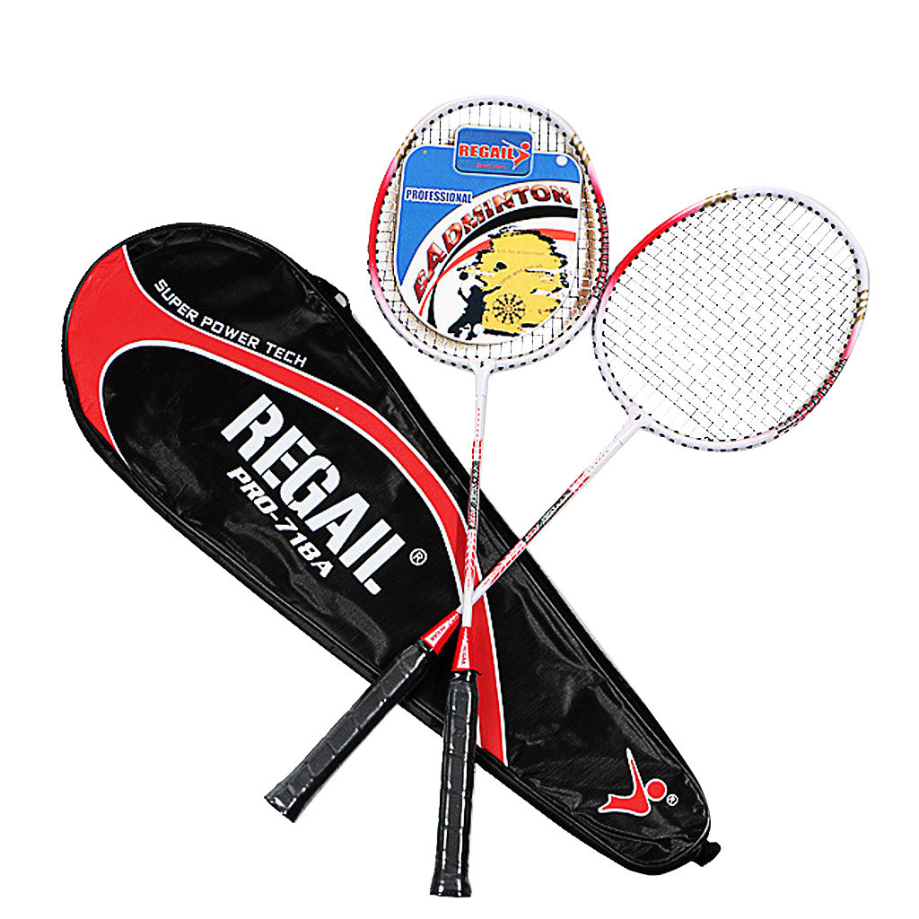 Professional Badminton Rackets Set Family Double Badminton Racquet  Aluminium Alloy Two Tone Beat Metal Playing Badminton
