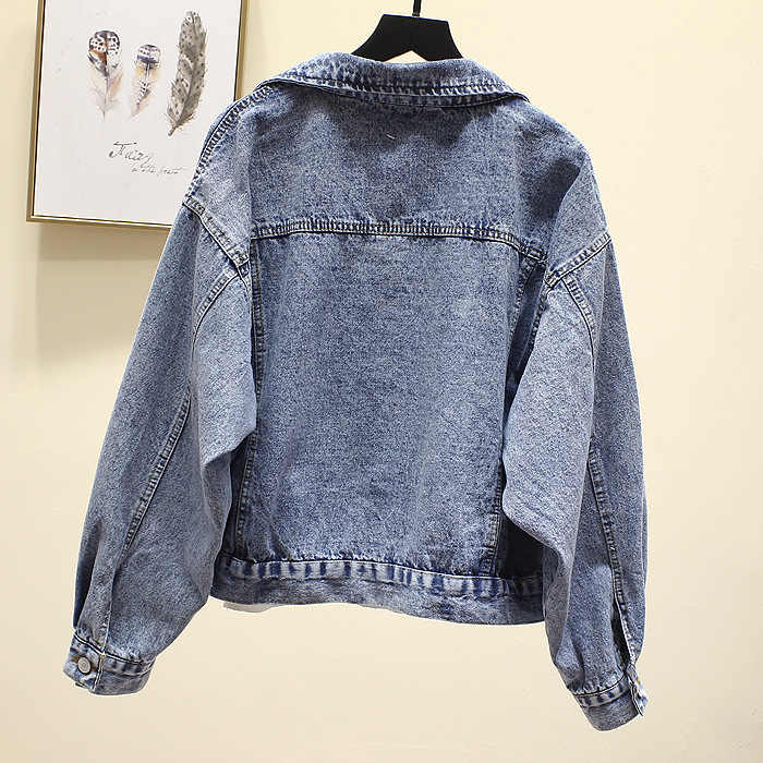 Vintage Denim Jacke Frauen Frühling Mantel Zerrissene übergroßen Oberbekleidung Mäntel Windjacke Freund Weibliche Jeans Jacke Plus Größe