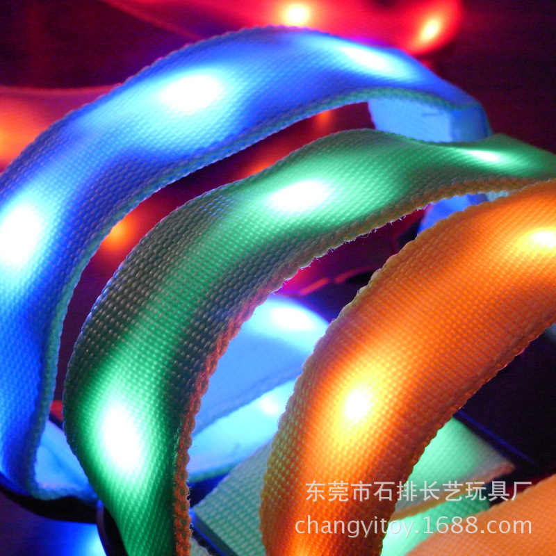 Nylon Webbing/LED Highlight LED Glowing Dog Collar New Style Luminous Collar