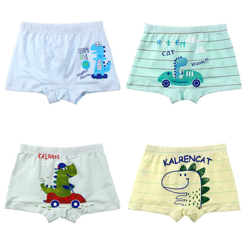 2 Pieces / Lot Cute Children's Pants Cartoon Dinosaur Pattern Boy Cotton Pants Kids Panties Boys Underwear Flat Angle Design