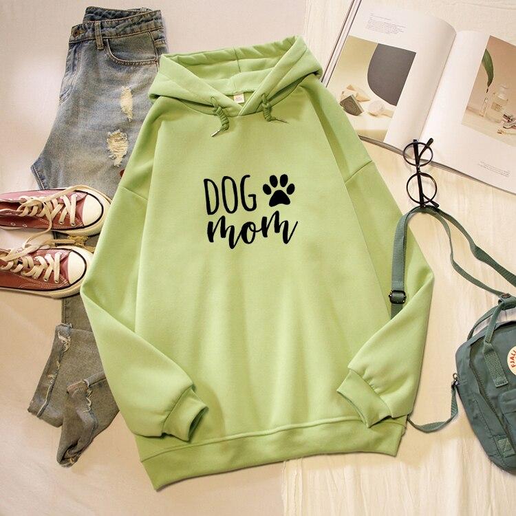 Dog Mom Letter Print Hoodies Women Korean Fashion Kawaii Graphic Sweatshirt Oversized Long Sleeve Female Pullover Streetwear Top 3