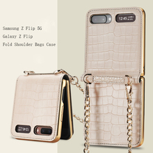 Magnetic Mirror Case for Samsung Z Flip 5G Cover Makeups Bag Phone Case with Chain Strap Shockproof Shell for Galaxy Z Flip Case
