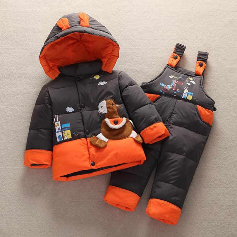 2020 新しい子供子供冬ダックダウンジャケットコートセットパンツジャケット服女の赤ちゃんコートジャケットスーツ服