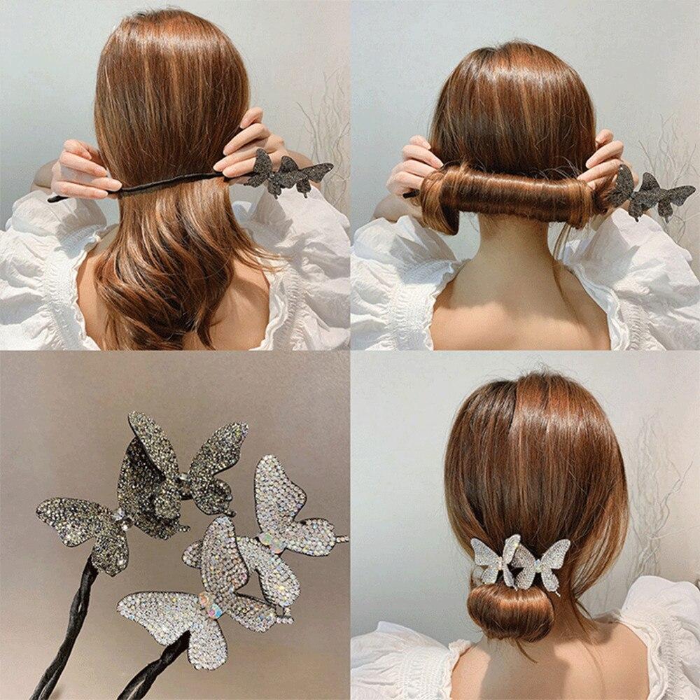 DIY Hair Style Hair device braided hair artifact lazy curly hair stick butterfly hairpin flower bud hair ornament headdress