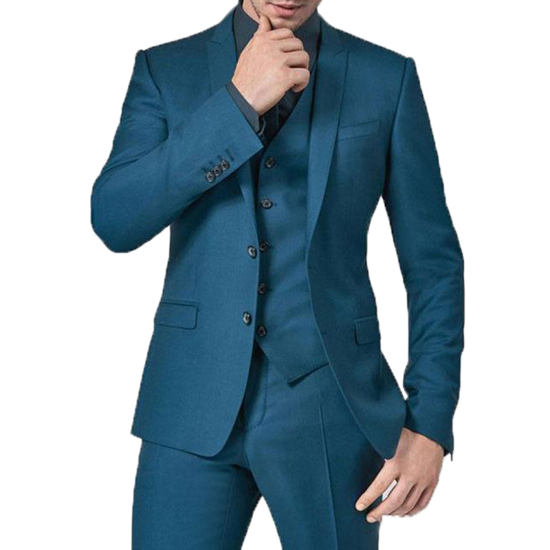 Mens Suits Slim Fit Groomsmen Wedding Tuxedos Three Pieces Groom Suit Peaked Lapel Celebrity Formal Blazers (Jacket+Pants+Vest)