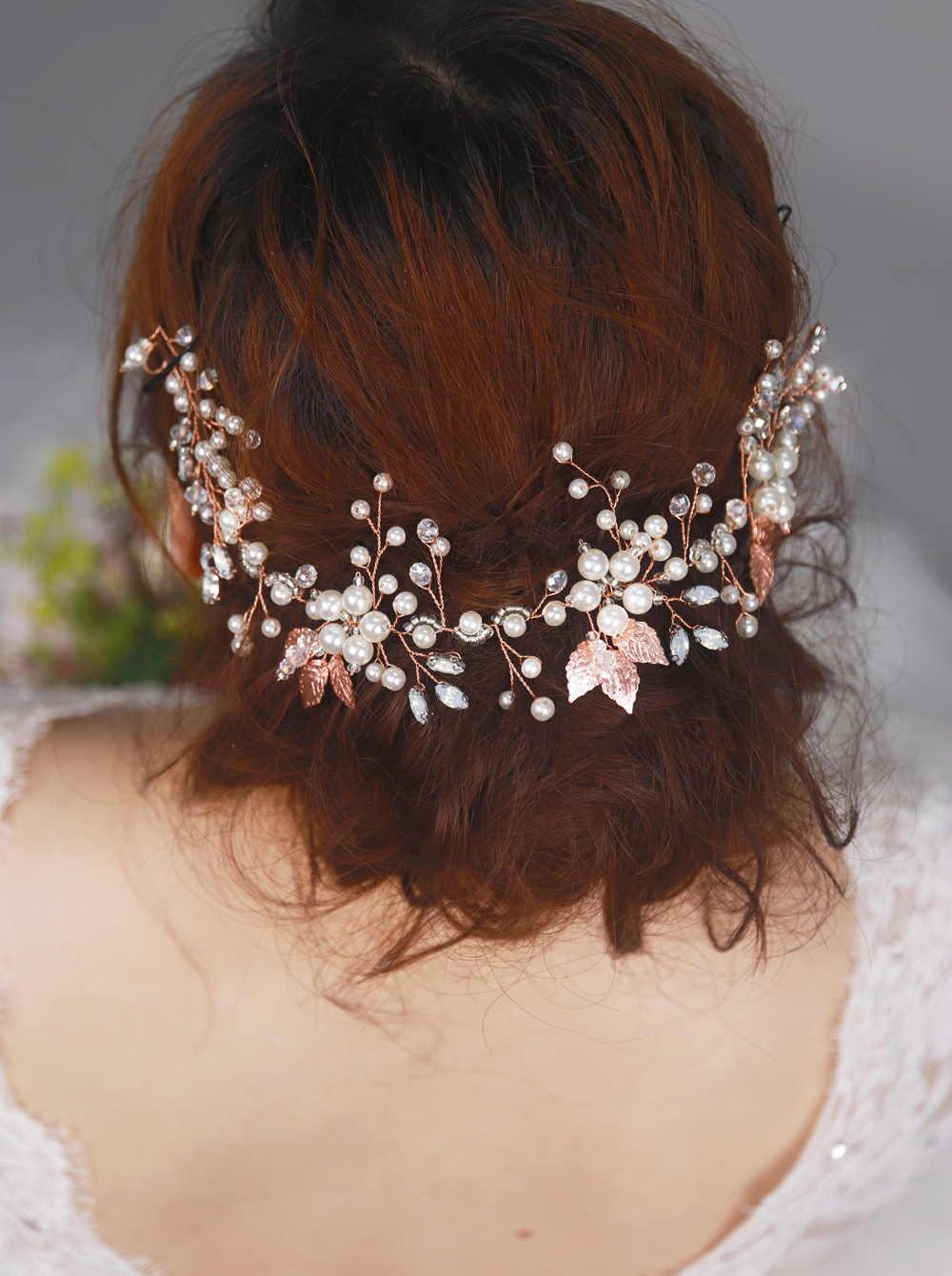 Rose Gold Bridal Hair Vine Crystal Leaf Rustic Bridal Headpieces Floral Bridal Wreath Wedding Hair Accessories Pearl Headband Tiara