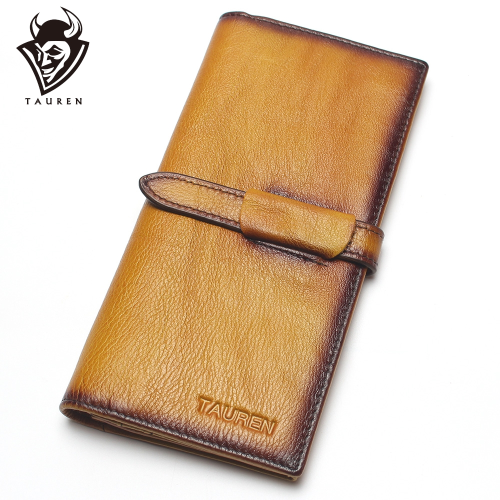 Dip Dye RFID Blocking 100% Genuine Leather Vintage Men & Women Long Wallet Coin Purse Vintage Designer Male Carteira Wallets