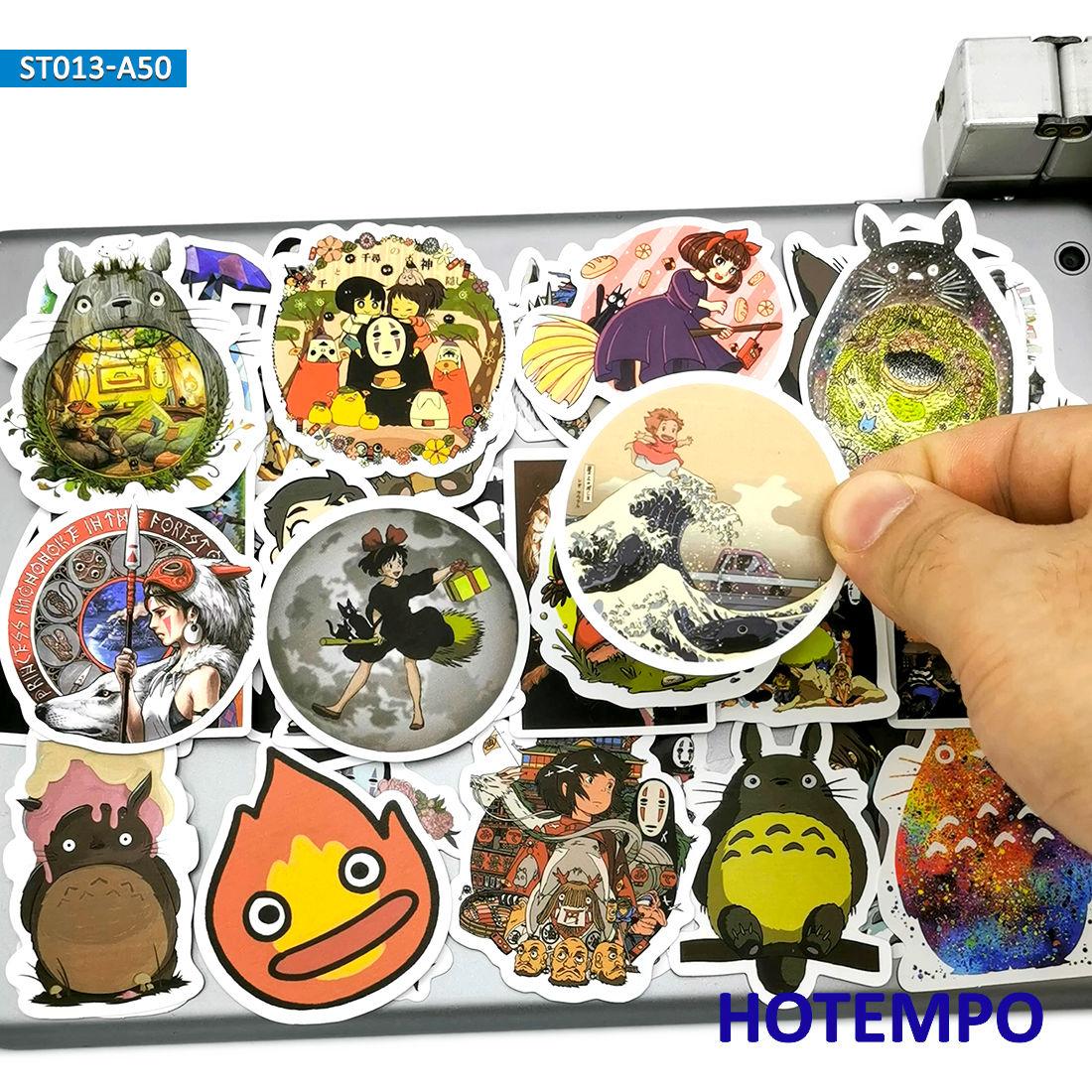 50pcs Japan Anime Movie Miyazaki Hayao Cartoon Cute Stickers Toys For Kids Mobile Phone Laptop Luggage Skateboard Decal Stickers