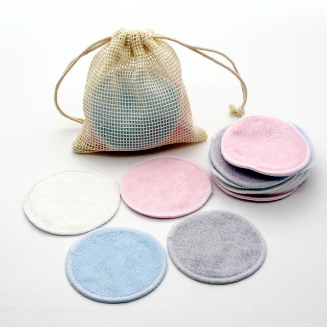 Reusable Bamboo Makeup Remover Pads 12pcs/Bag Washable Rounds Cleansing Facial Cotton Make Up Removal Pads Tool 5