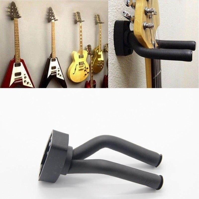 Black Guitar Hanger Hook Holder Wall Mount Stand Rack Bracket Display Strong Fixed Wall Guitar Bass Screws Accessories